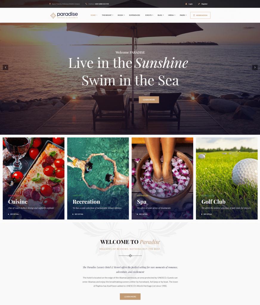 Paradise WordPress hotel themes
