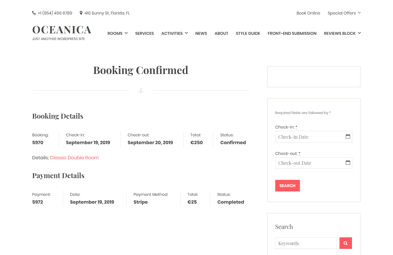 WordPress hotel booking plugin version booking confirmed by payment