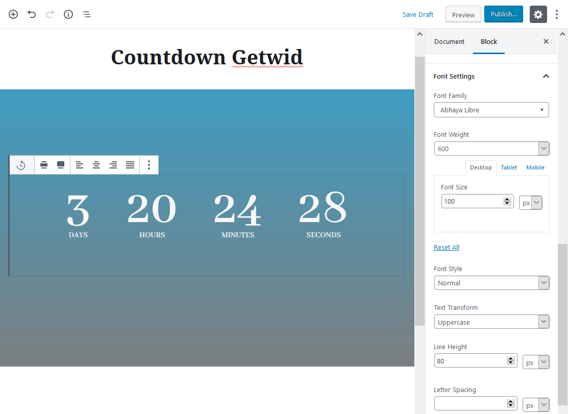 countdown getwid block settings