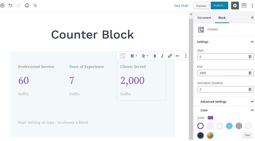 counter block settings getwid