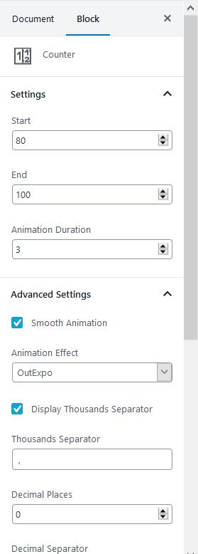 counter settings getwid guteberg block