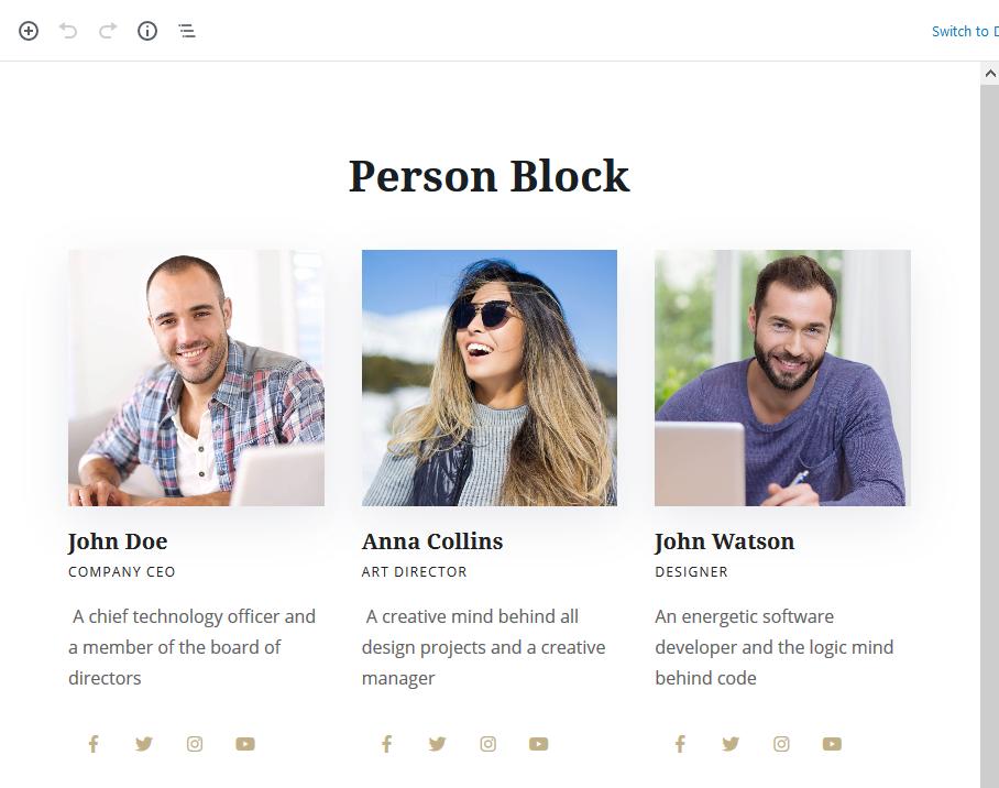 featureed wordpress team block