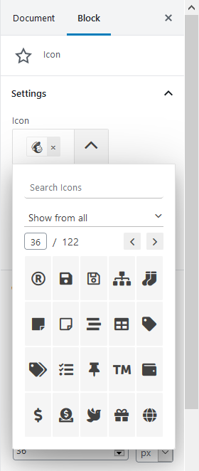 font awesome icons wordpress blocks