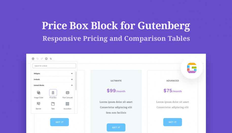 pricing table gutenberg block