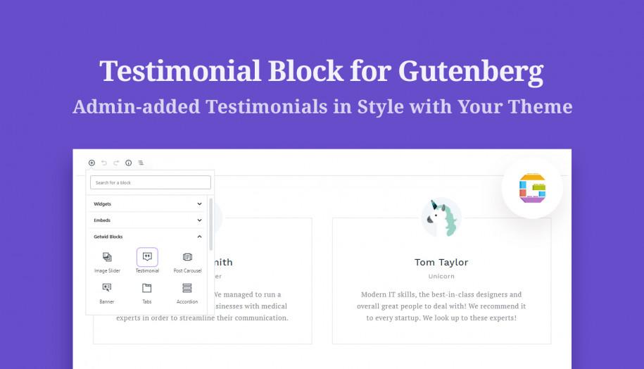 testimonial gutenberg block