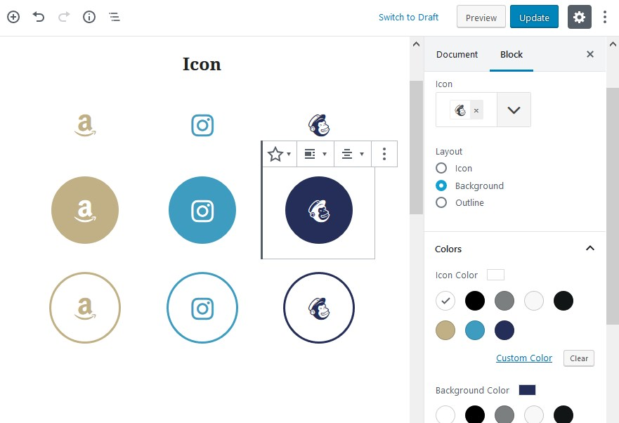 gutenberg blocks icon layout and color