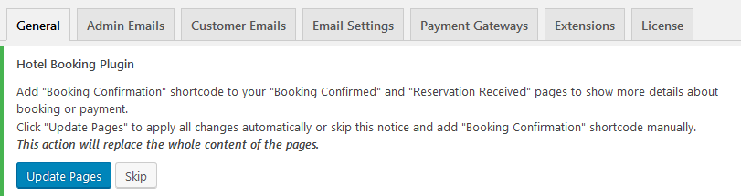 WordPress hotel booking plugin version plugin prompts
