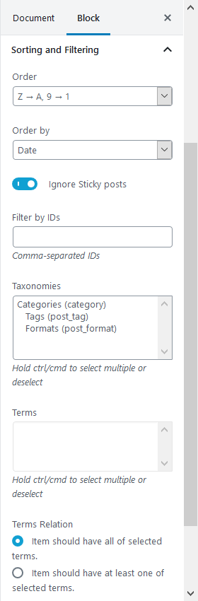 sorting and filtering