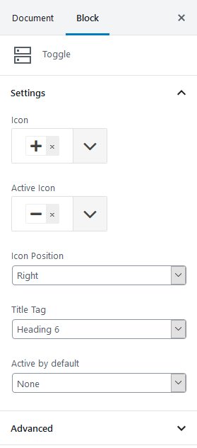 toggle block settings