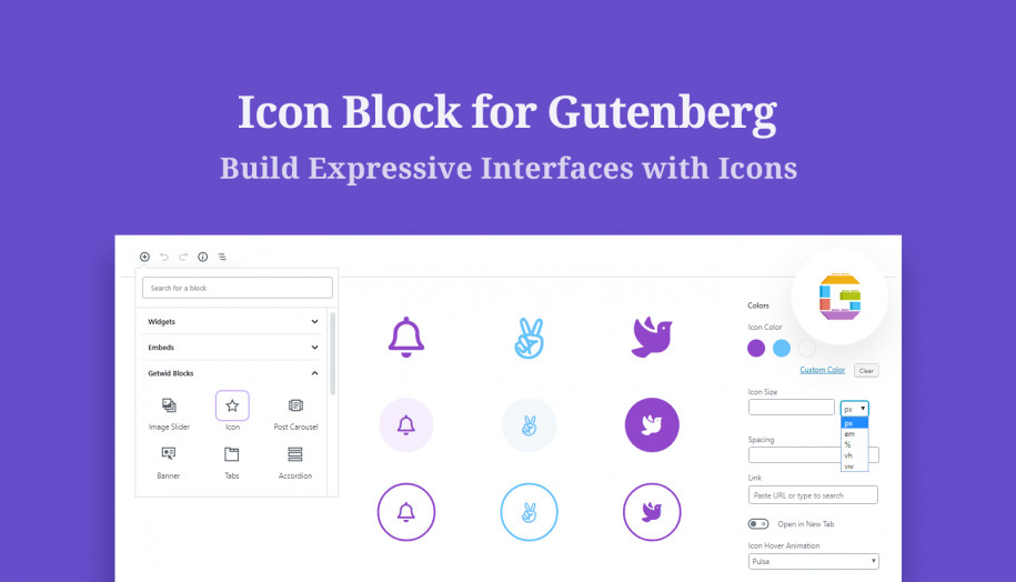 icon gutenberg block