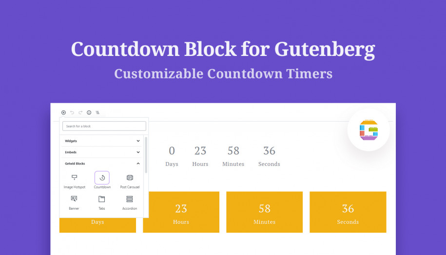 countdown Gutenberg block