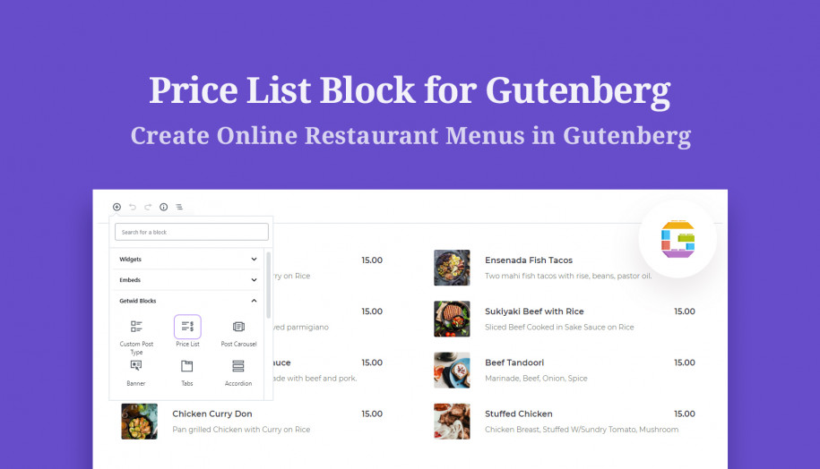 price list Gutenberg block