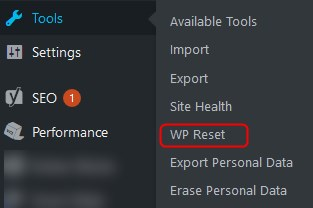 wp reset installation