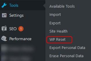 wp reset installation