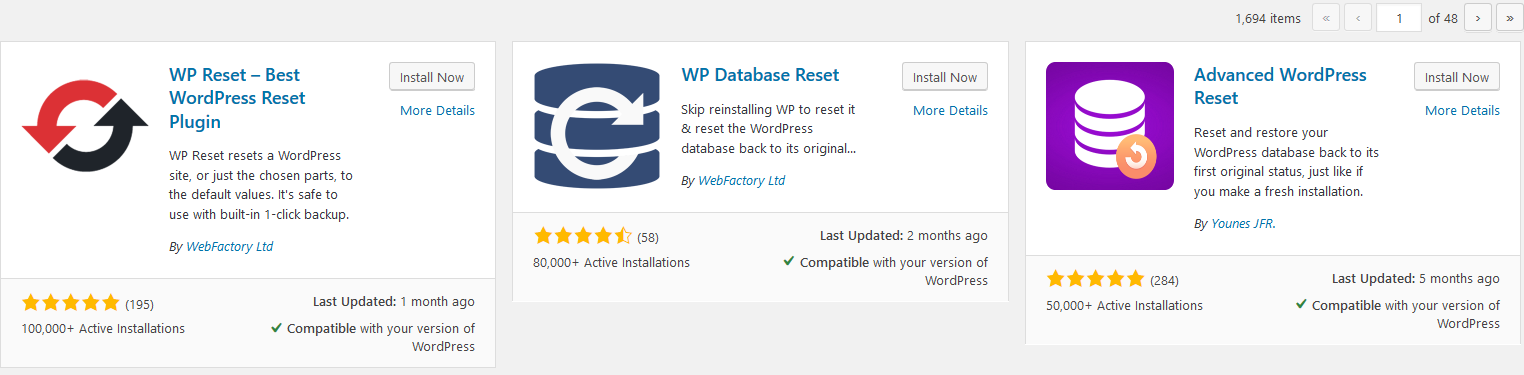 how to reset wordpress