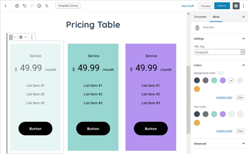 pricing and comparison tables