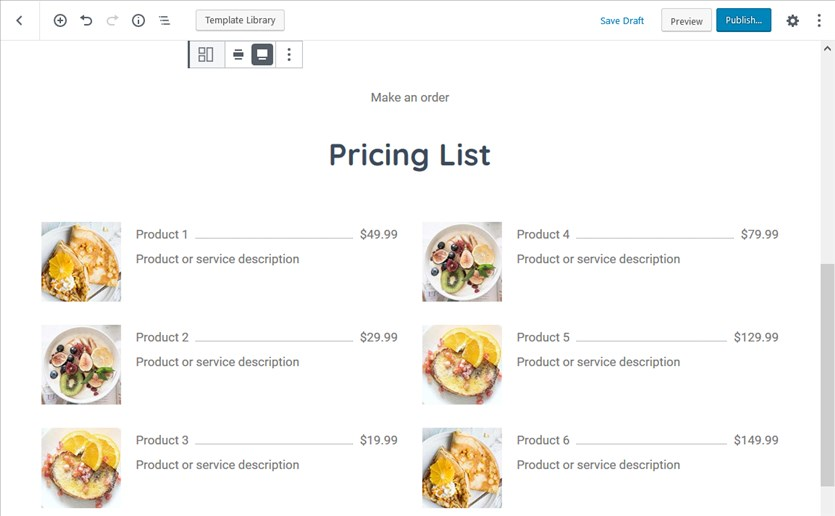pricing list template block