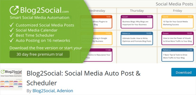 Blog2Social Social Media Auto Post Scheduler