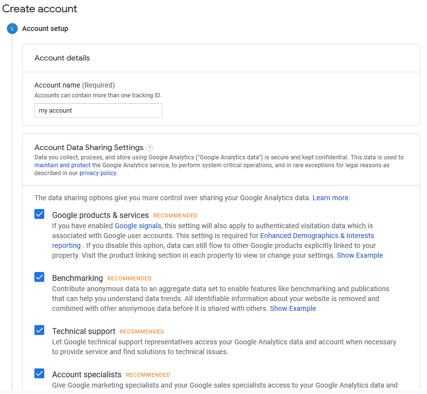 creating google analytics account