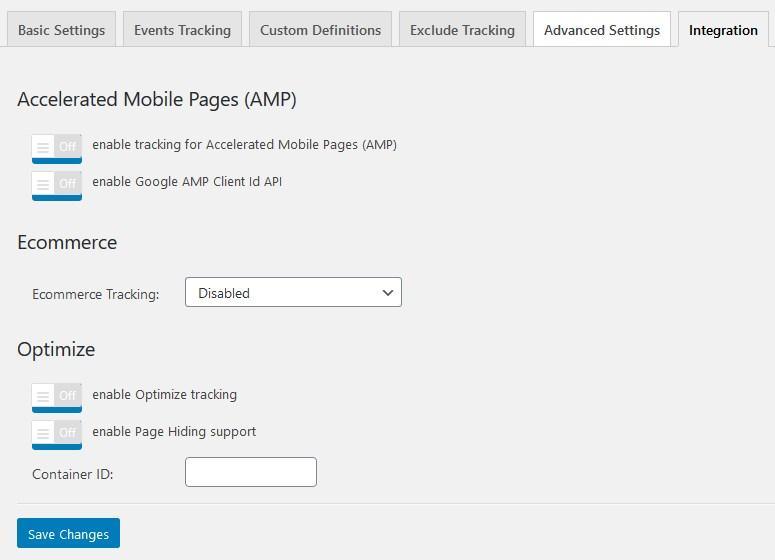 google analytics plugin integrations