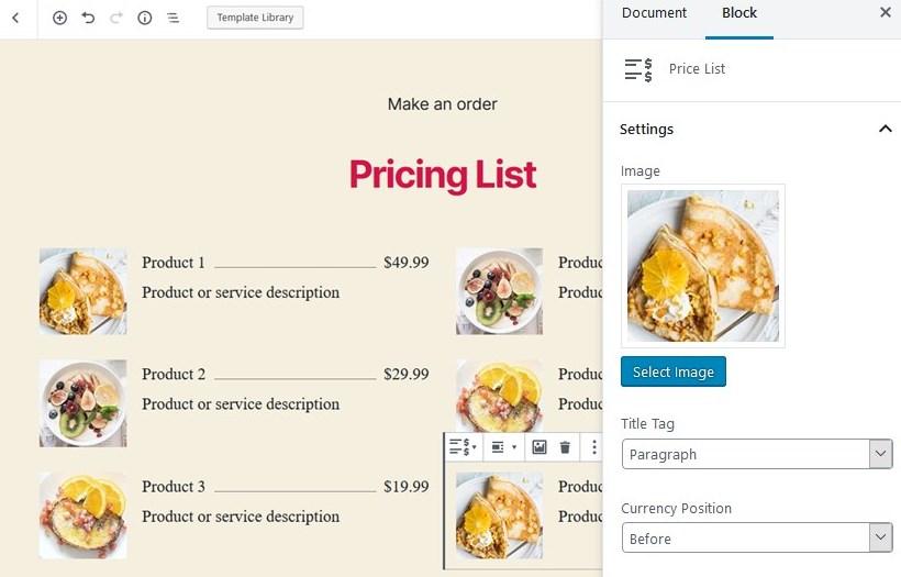 pricing list gutenberg block