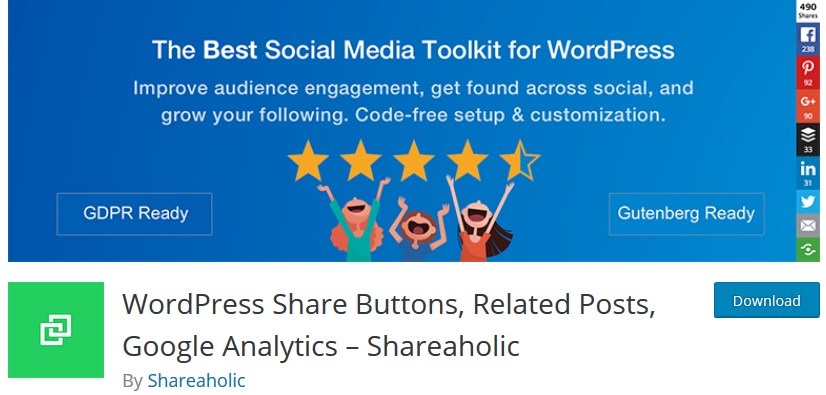 shareaholic wordpress social media plugins