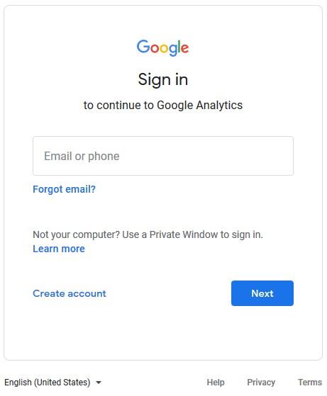 sign in google analytics
