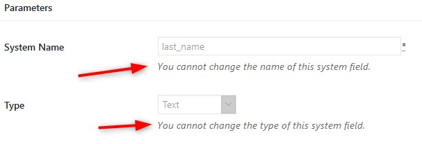 unchangeable checkout field parameters