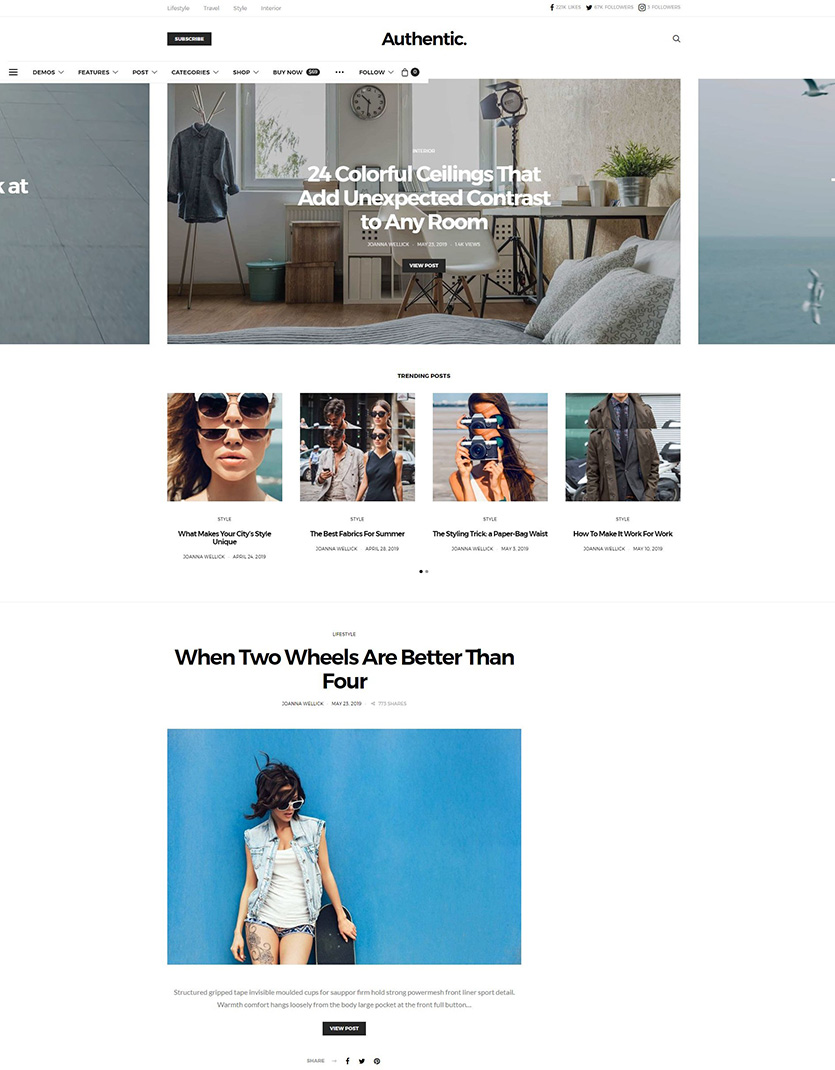 Authentic magazine theme wordpress