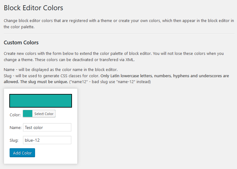 block editor colors add custom colors