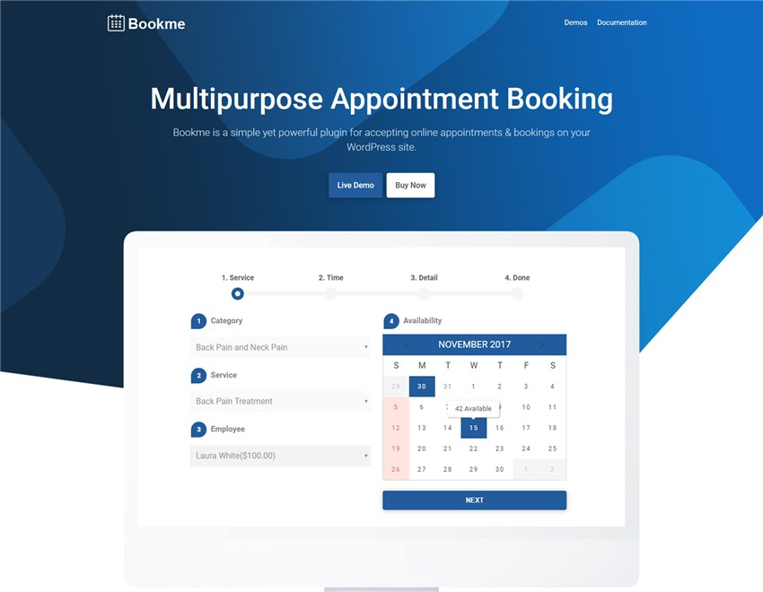 bookme wp appoitment booking plugin