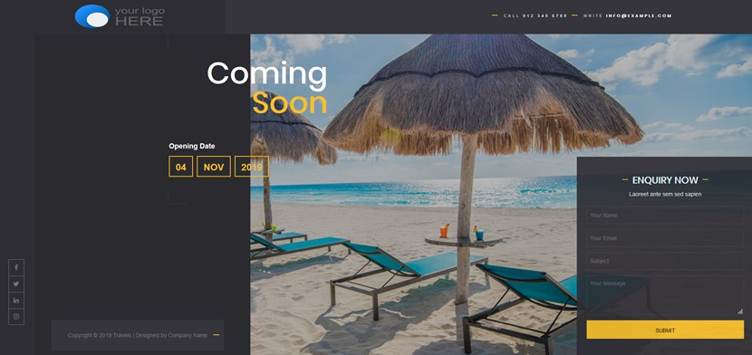 coming soon free template wordpress