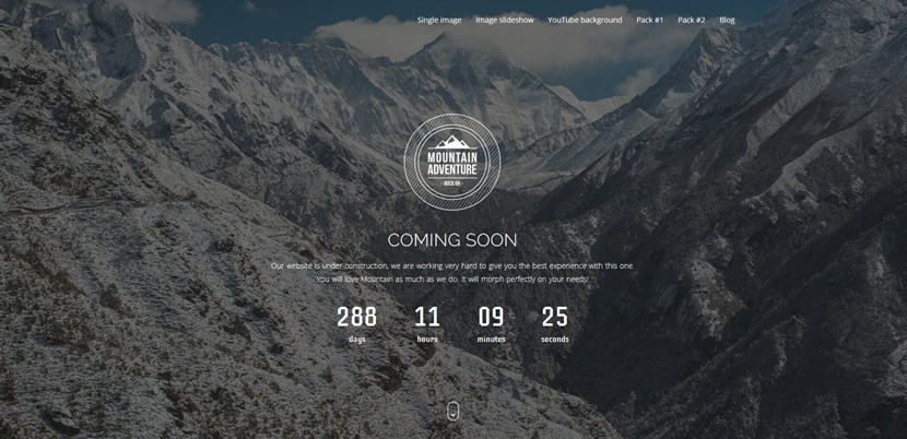 mountain wp coming soon theme