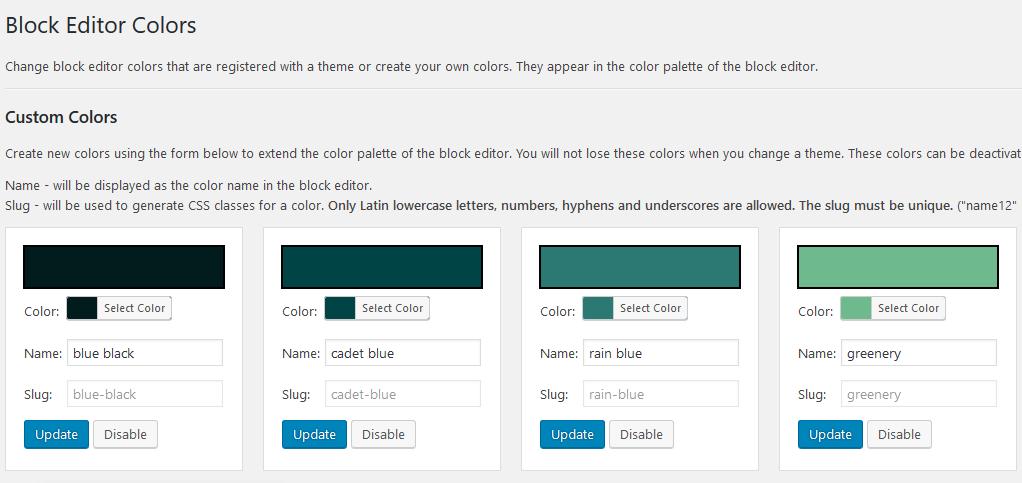 gutenberg editor colors