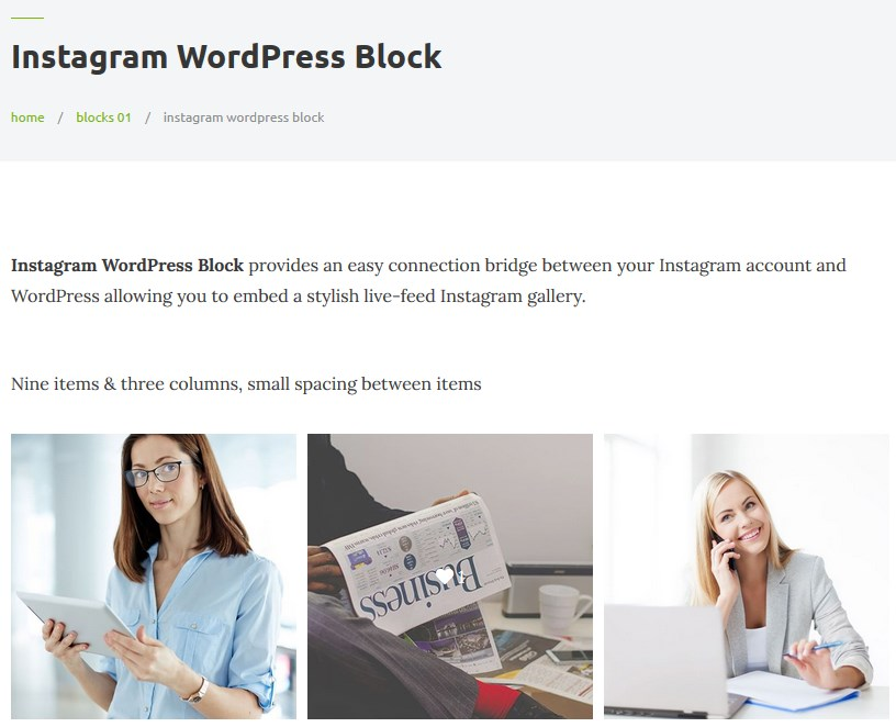 instagram block getwid plugin