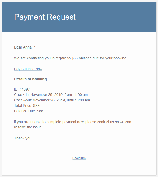 payment request email