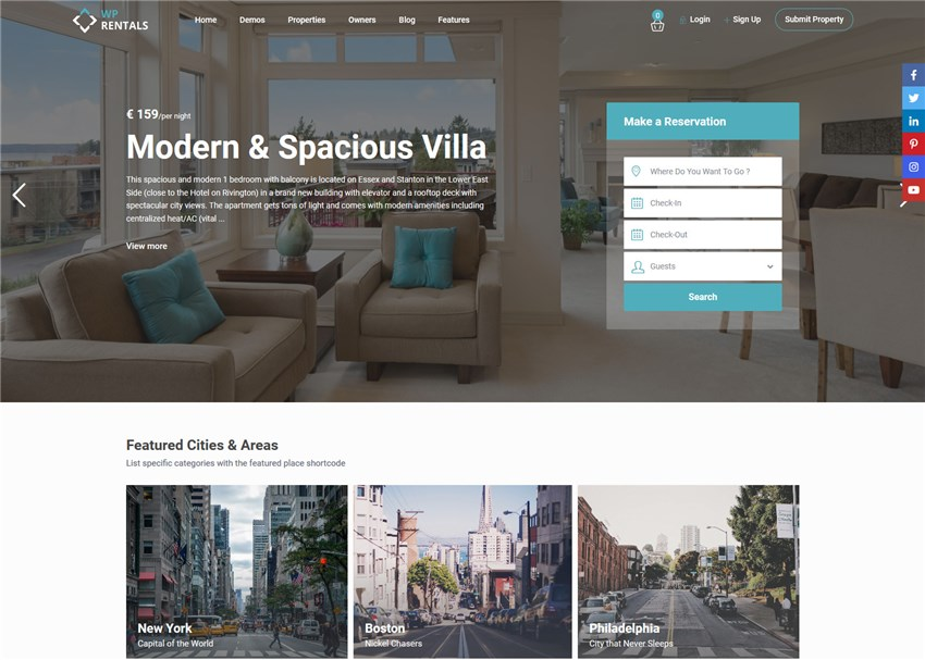 wp rentals wordpress theme