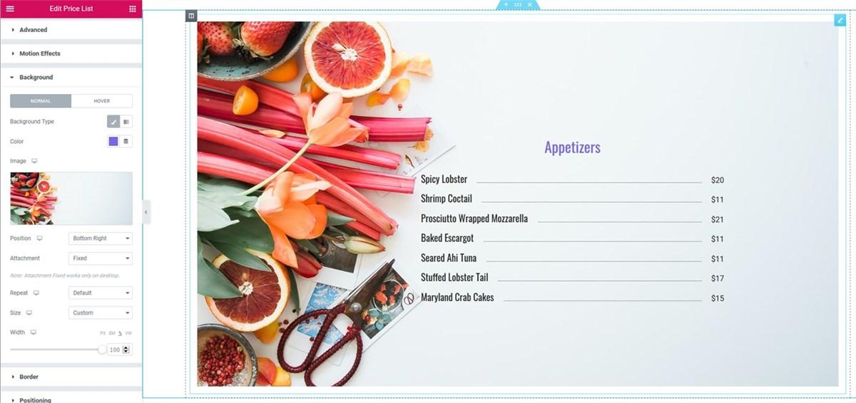 list menu - advanced elementor background