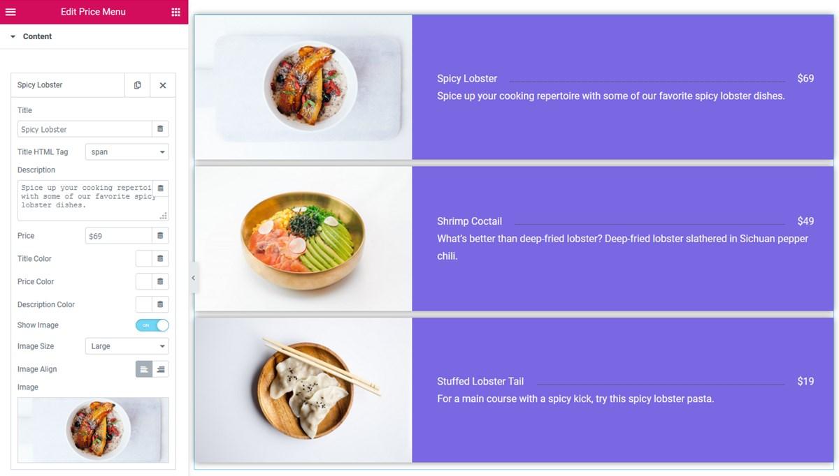 price menu content