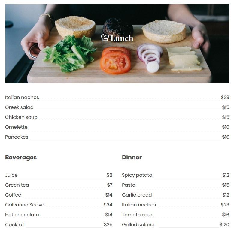 simple list mp restaurant menu