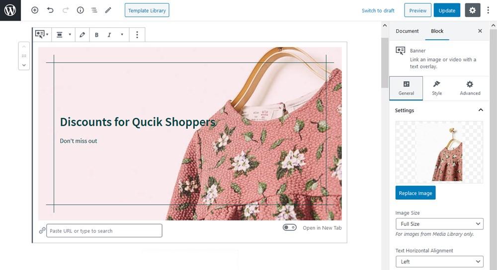 banner block getwid storefront