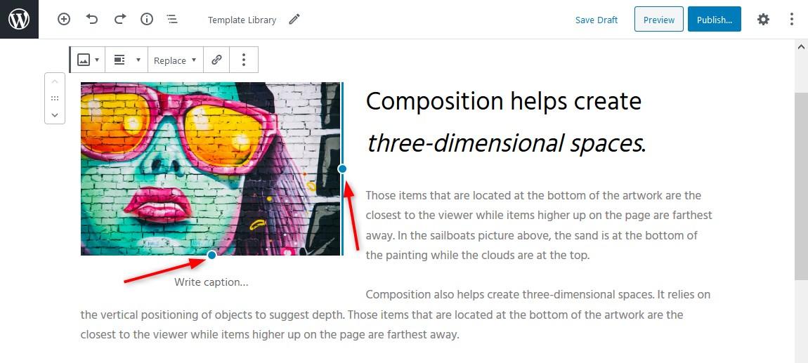 change image size gutenberg wordpress