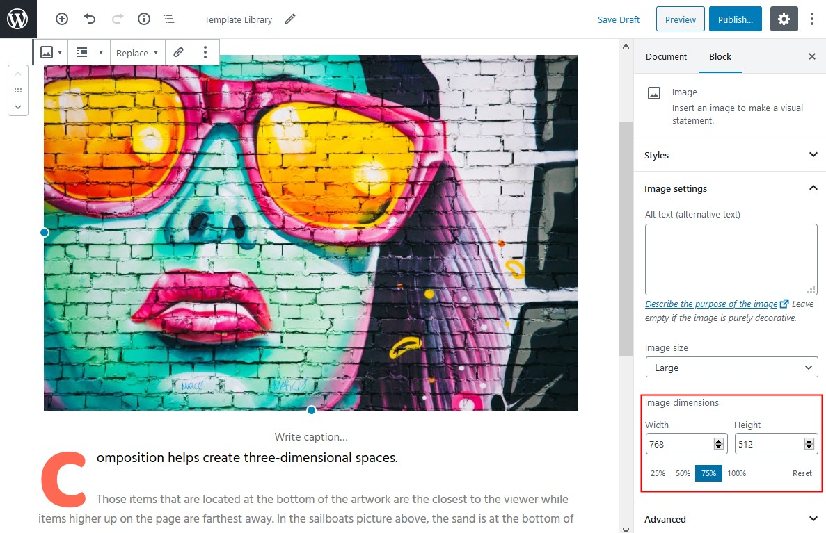 chnage image size gutenberg text wrapping around image