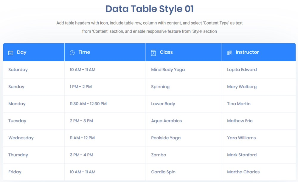 data table essential addons
