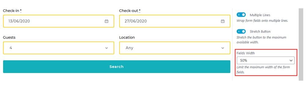 motopress plugin search form horizontal field width 50