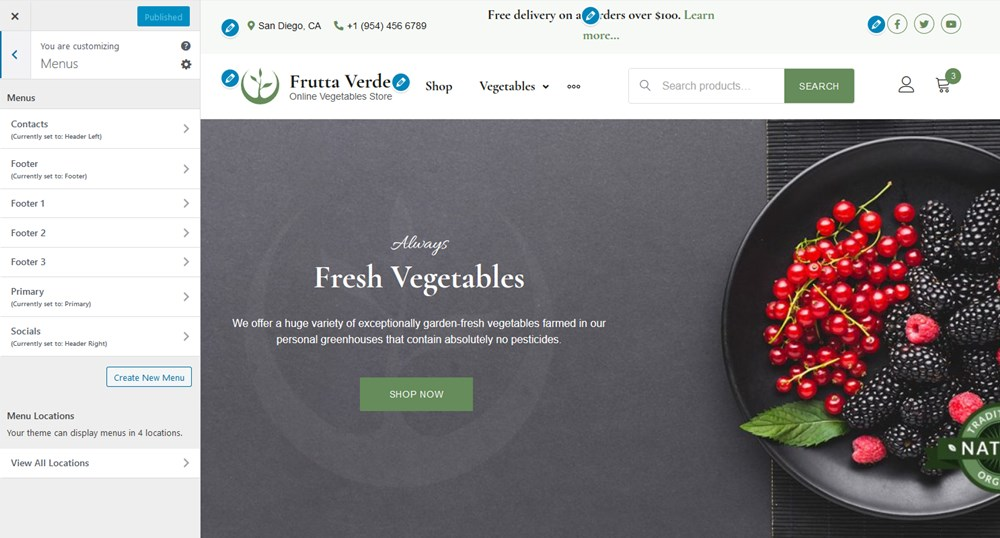 navigation menus frutta verde