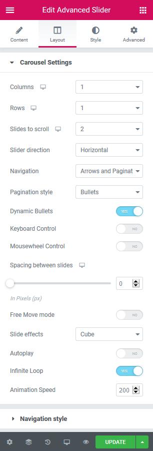 slider carousel settings elementor