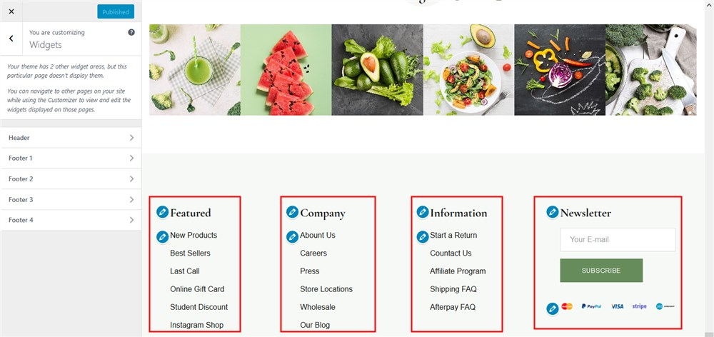 widget zones frutta Verde