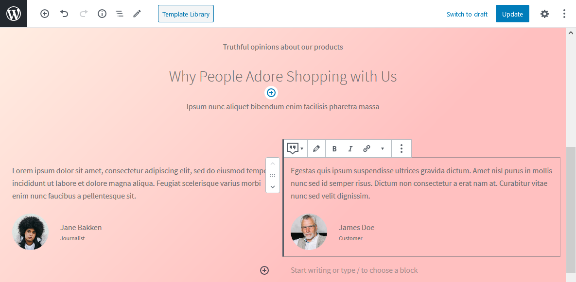 woocommerce storefront theme blocks testimonial