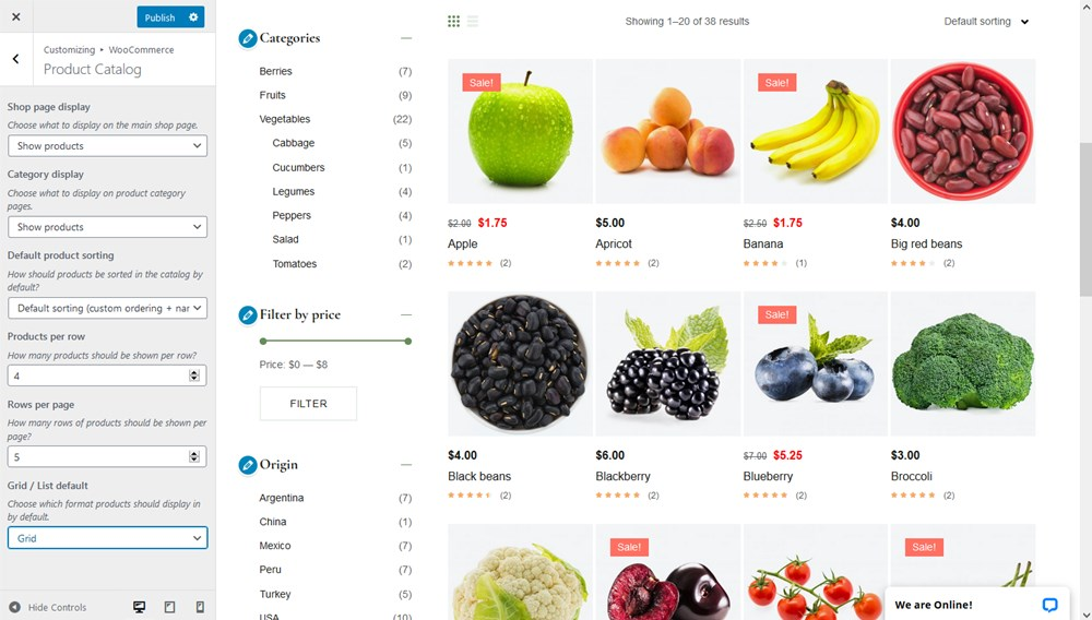 wordpress customizer woocommerce frutta verde grocery store template